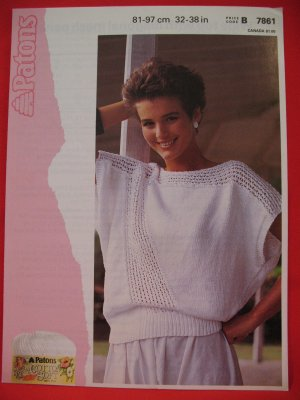 "Patons Lady's Wide Top Sweater Mesh Panel Vintage Knitting Pattern Ladies Sizes 32"" - 38"""