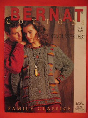 Bernat Cottons Knitting Patterns Family Classics Sweaters Cardigans Pullovers
