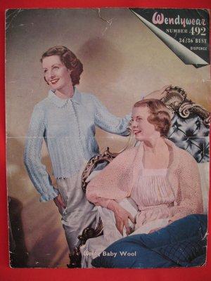 "Wendy RETRO Baby Wool Vintage Knitting Patterns Bedjacket Stole Ladies Bust 34"" - 36"""