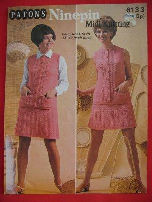 7d79b559a Patons RETRO Ninepin Midi Vintage Knitting Patterns Cardigan ...