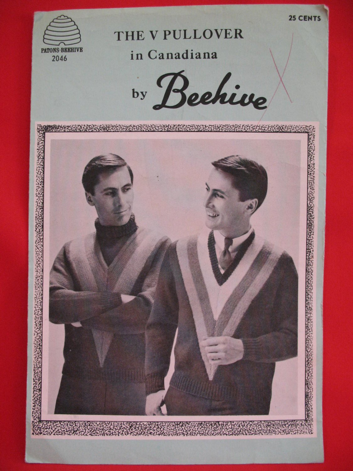 """Beehive Canadiana Wool Vintage Knitting Patterns Mens V Neck Pullover Sweater 36"""" - 42"""""""