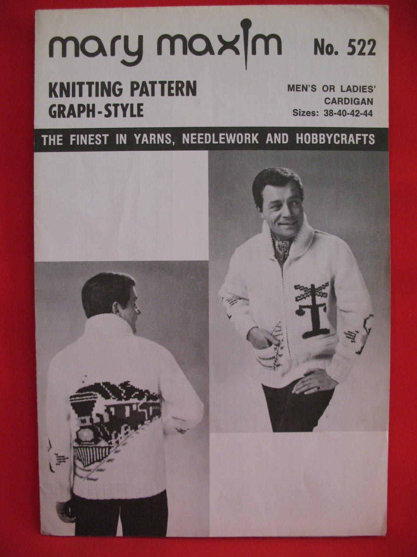Mary Maxim Cardigan Sweater Vintage Knitting Patterns Adults Mens Ladies Railroad Trains