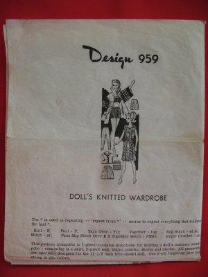 Vintage Knitting Crocheting Patterns Barbie Dolls Teenage Doll Wardrobe
