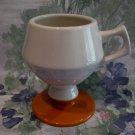 Butterscotch and Beige Pedestal Coffee Mug Vintage HALL Mug Cup