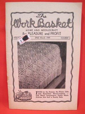 Vintage WORK BASKET Magazine Patterns March 1949
