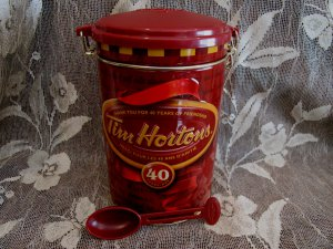 Tim Hortons Coffee Canister Tin Canada Souvenir 40 Anniversary  # 4 Edition with SPOON