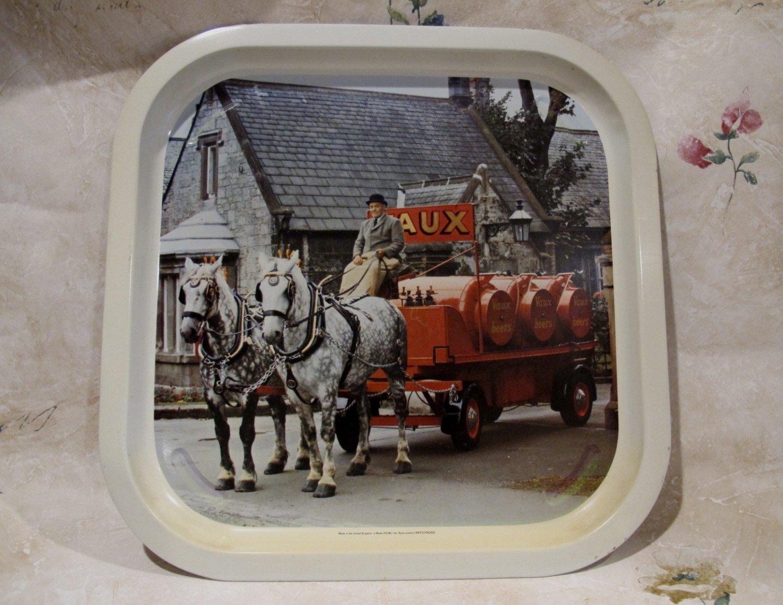 Vintage VAUX BEER Tray Souvenir Collector GREAT BRITAIN ALE Horses ALE Kegs