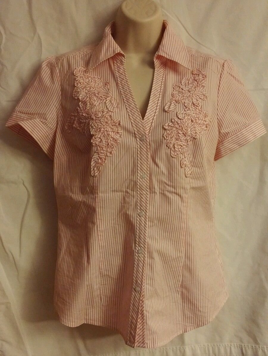 New York and Company Pink Striped Button Down Med.