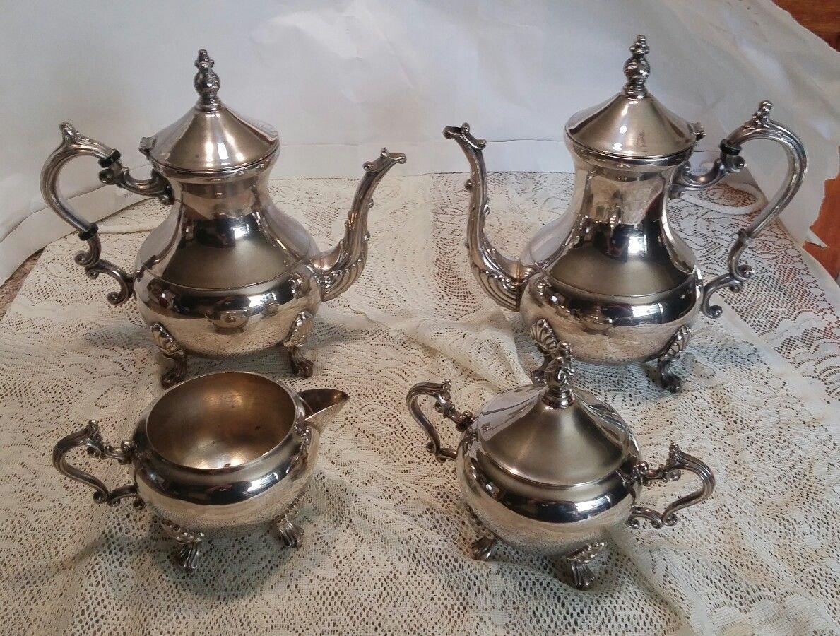 Vintagr Silver Plated Tea Set, Lady Margaret Pattern, 5 Piece Tea Service