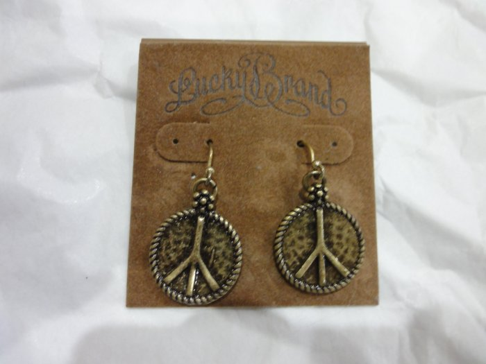 100% Authentic Lucky Brand Peace Sign Earrings