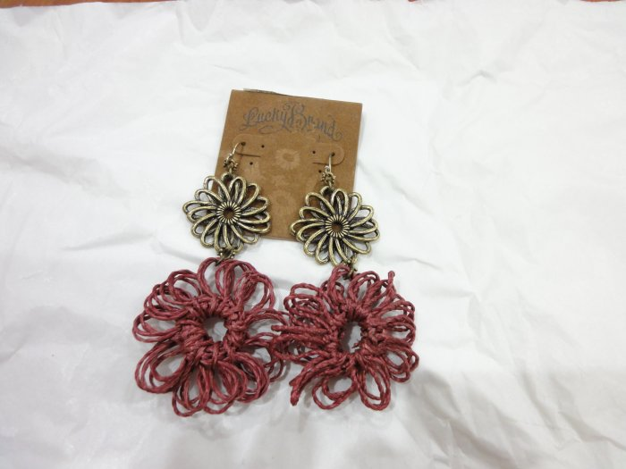 100% Authentic Lucky Brand Double Flower Earrings