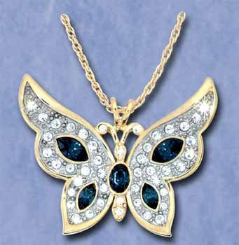 Butterfly Pendants With Oval Stones