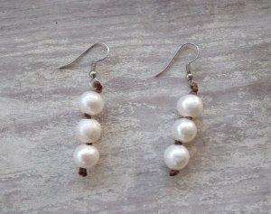 Three Pearl Earrings
