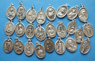 ASSORTMENT OF FEMALE SAINTS MEDALS-pull 1 each of 25 Female Saints Medals--NO CHARMS OR RELICS