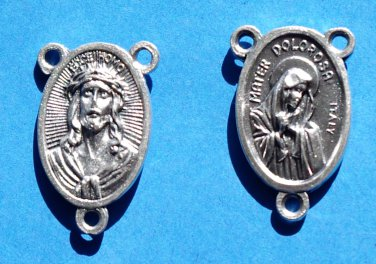 Mater Dolorosa (Sorrowful Mother) and Ecce Homo Rosary Centerpiece R-24
