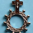 RR-23 Brown Crucifix Rosary Ring