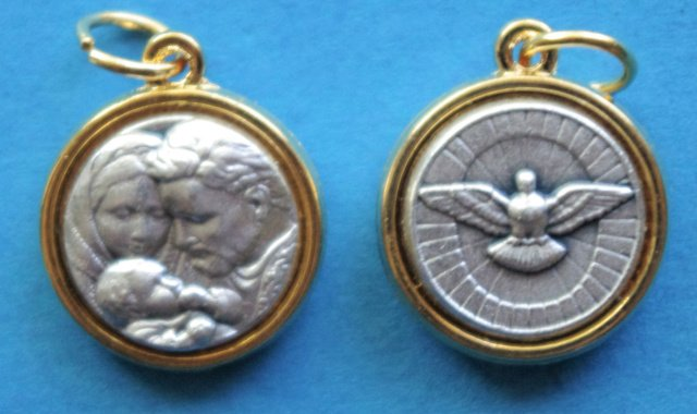 Holy Family / Holy Spirit Round Gold Tone Trim Medal M-382