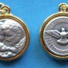 Holy Family / Holy Spirit Round Gold Tone Trim Medal M-382