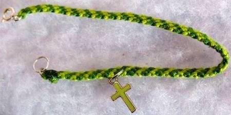 Light & Dark Green Cross Charm Bracelet