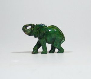 """The African Elephant"" Bright Green Verdite Sculpture/Art Handmade in Zimbabwe!"