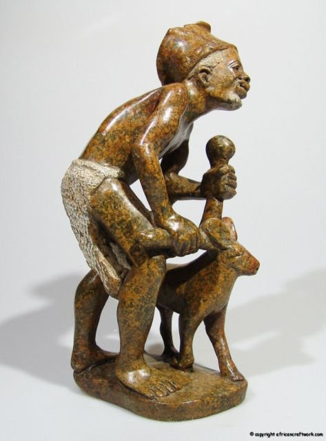 """Village Elder and his Dog"" Serpentine Stone Sculpture/Art Handmade in Zimbabwe!"