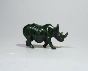 """""""The African Rhino"""" Verdite Shona Stone Sculpture Handmade in Zimbabwe!"""