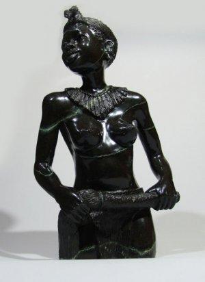 """Shona Tribal Female Warrior"" Serpentine Stone Sculpture Hand Carved ~Zimbabwe!"
