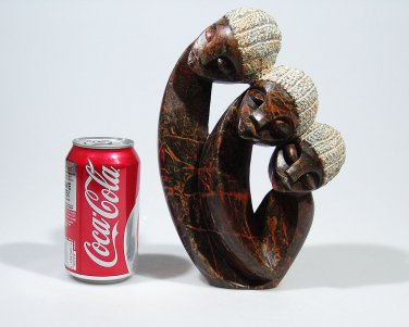 """""""Family of Three"""" Serpentine Shona Stone Sculpture Hand Carved in Zimbabwe!"""