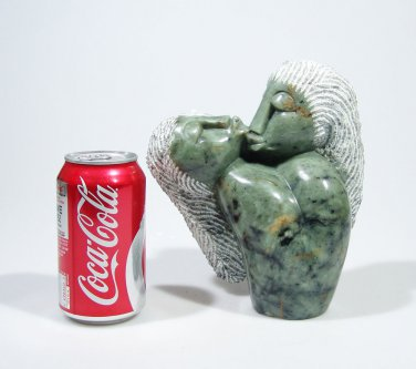 """""""Lovers Kissing""""  Serpentine Shona Stone Sculpture Hand Carved in Zimbabwe!"""