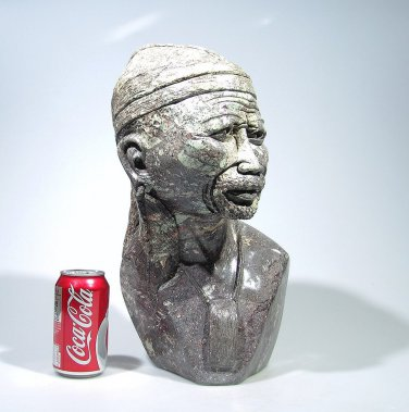 """Shona Tribal Warrior Chief"" Cobalt Stone Sculpture Hand Carved in Zimbabwe!"