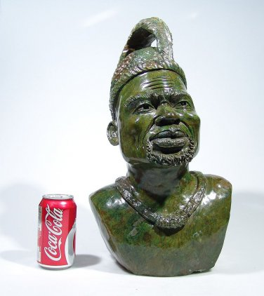 """Shona Chief"" Verdite Shona Stone Sculpture Hand Carved - Zimbabwe! (Stewart N.)"
