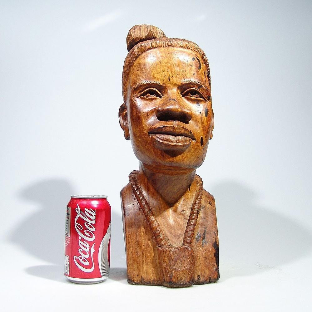 """Shona Lady"" Mukwa Hardwood Sculpture Hand Carved by Kenneth M. in Zimbabwe!"