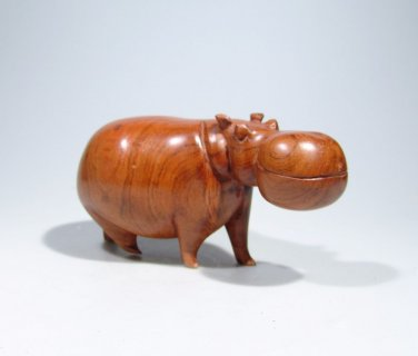 """""""African Hippo"""" Mukwa Wood Shona Sculpture Hand Carved in Zimbabwe!"""