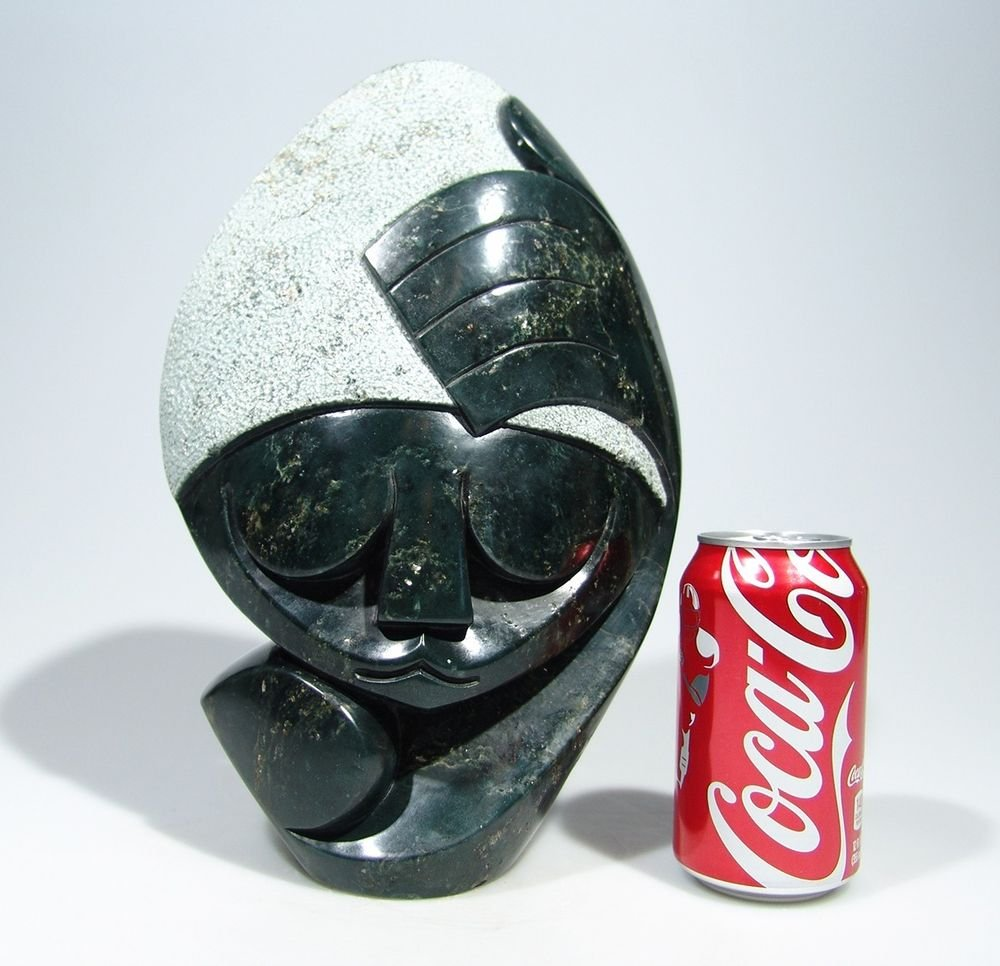 """""""Man In Thought""""  Serpentine Shona Stone Sculpture Hand Carved in Zimbabwe!"""