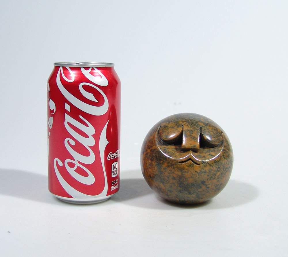 """""""Smiling Ball Head Man"""" Serpentine Shona Stone Sculpture Hand Carved in Zimbabwe"""