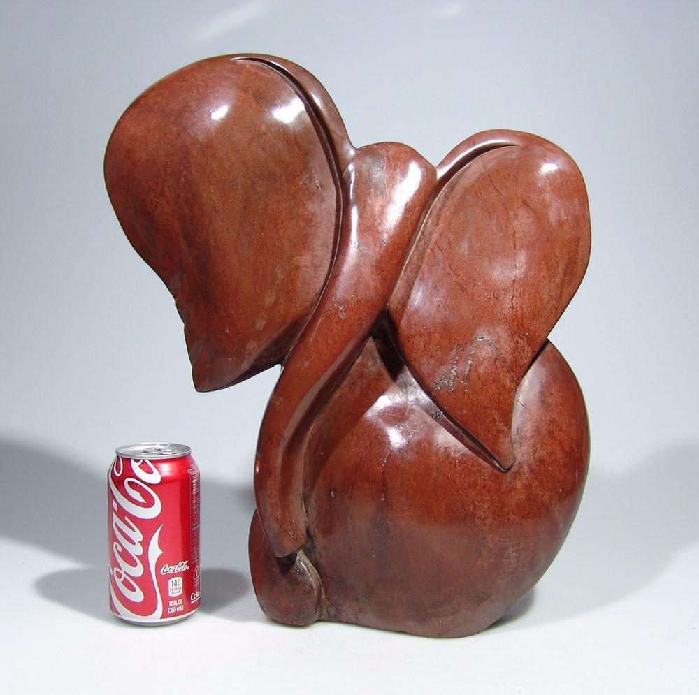 "Large ""African Elephant"" in Red Jasper Stone Art Handmade in Zimbabwe!"