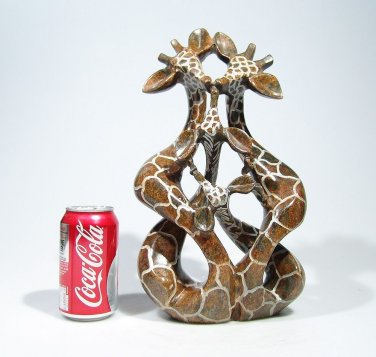 """African Giraffe - Family of Four"" Hand Carved Shona Serpentine Stone ~Zimbabwe!"