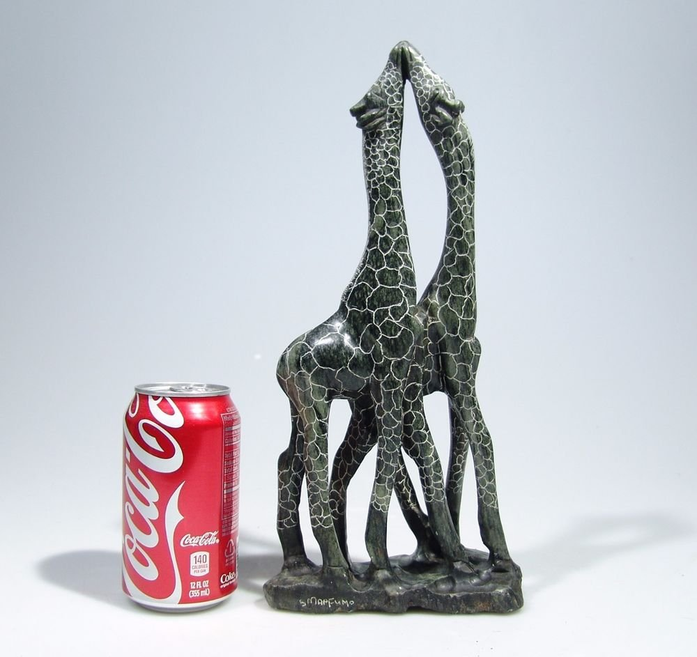 """""""Kissing Giraffes!"""" Hand Carved Shona Serpentine Stone Hand Carved in Zimbabwe!"""