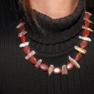 N41 Watermelon Tourmaline and Biwa Pearl Necklace  50% OFF