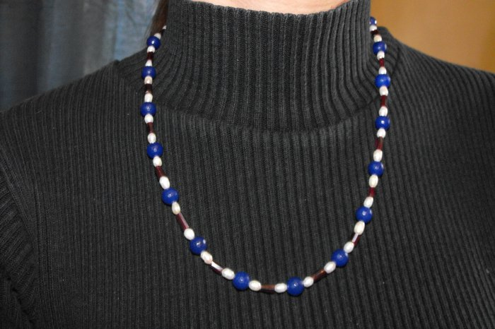 N32 Sapphire,Garnet and White Pearl Necklace  50% OFF