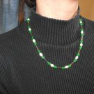 N31 Emerald,Pearl and Silver Necklace  50% OFF