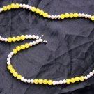N14 Yellow Topaz and White Pearl Necklace  50% OFF