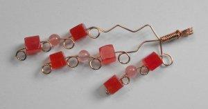 P17 red jade,rose quartz,and copper pendant