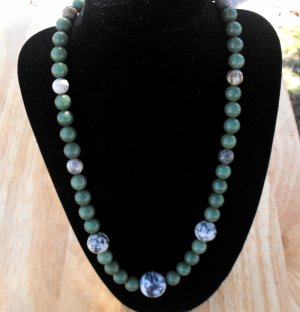 N73 Jade and Jasper Necklace  50% OFF