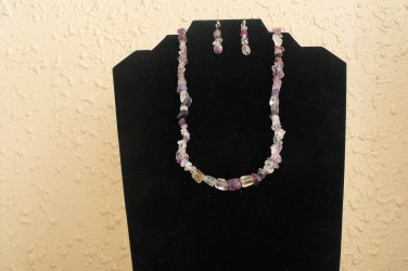 S09 Rainbow Flourite Nugget and Chip Necklace Set  50% OFF