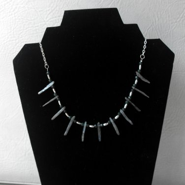 N58 Emerald and Kyanite Tribal Necklace  50% OFF