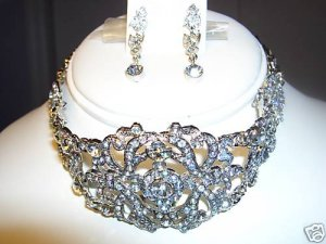 WHITE DIAMOND CRYSTAL CHOKER NECKLACE EARRING JEWELRY
