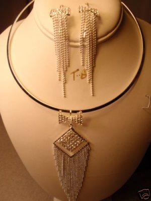 BRIDAL DROP CHANDELIER SILVER CHOKER EARRING NECKLACE NEW FROM CHRISTINA COLLECTION