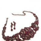 DEEP PURPLE AUSTRIAN CRYSTAL NECKLACE EARRING CHOKER
