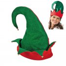 Elf Hat - Red Green Felt Holiday Christmas Santa Party Cap with Bells
